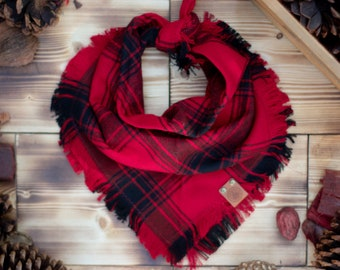 Lumberjack - Dog Bandana Red & Black Buffalo Plaid Flannel Fall Frayed Tie On Handcrafted - Puppy Scarf - Pet Gift