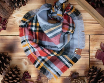 Butternut Squash - Dog Bandana Gray, Orange & Black Plaid Flannel Fall Frayed Tie On Handcrafted - Puppy Scarf - Pet Gift
