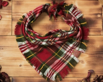 Castle Rock - Dog Bandana Red & Green Plaid Flannel Fall Frayed Tie On Handcrafted - Puppy Scarf - Pet Gift