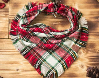 Victory Peak - Dog Bandana Red & Cream Tartan Plaid Flannel Fall Frayed Tie On Handcrafted - Puppy Scarf - Pet Gift