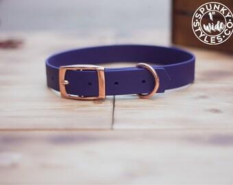 "Plum - 1"" Waterproof Biothane Durable Dog Collar Purple - Mess Mud Resistant Stink Resistant Vegan Leather Wipe Clean All Sizes"