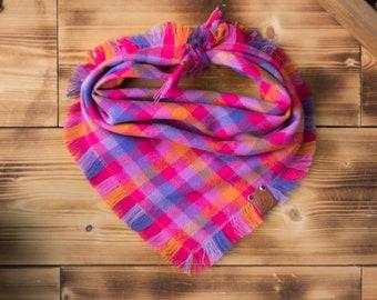 Amberjack - Dog Bandana Pink Purple Orange Summer Plaid Flannel Fall Frayed Tie On Handcrafted - Puppy Scarf - Pet Gift