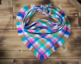 Skipjack - Dog Bandana Pink Teal Multicolor Summer Plaid Flannel Fall Frayed Tie On Handcrafted - Puppy Scarf - Pet Gift
