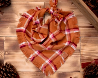 Bourbon Maple - Dog Bandana Orange & White Plaid Flannel Fall Frayed Tie On Handcrafted - Puppy Scarf - Pet Gift