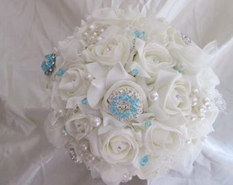 Brooch and Crystal Bridal Bouquet