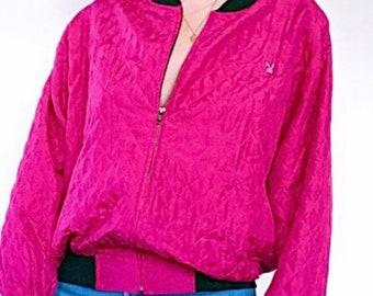 a8b7f832b21f18 Vintage 1980 s Spenser Jeremy 100% Pink Silk Playboy Patch Quilted Bomber  Jacket