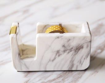 Acrylic Marble Tape Dispenser, minimalist tape dispenser, marble office desk accessory, office gift, modern desk decorations, gold dispenser