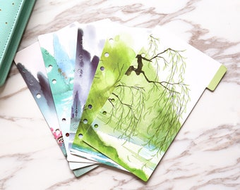 Willows Planner Dividers/A5 dividers /Personal dividers /Planner divider set /Filofax dividers /landscape painting dividers