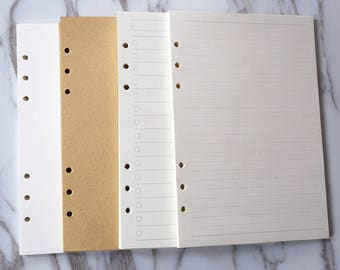 80 pages A5 Planner Inserts /blank Inserts /personal size lined Inserts/dot/grid/filofax personal inserts/printed planner inserts,