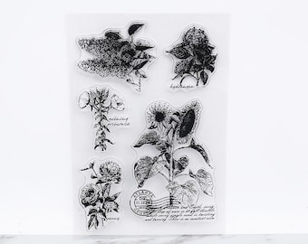 Sunflowers Clear Rubber Stamp/Flora Fauna clear Stamp/Hydrangea, Lilac, Peony, Evening Primrose flowers transparent  stamp/botanical stamps