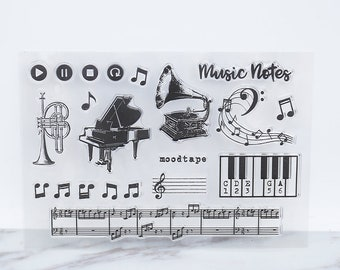 Musical Instruments Clear Stamp Notes Rubber Piano Transparent Musician Stamps