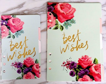 Set of 5 Cactus plant Planner dividersbeautiful flowers plastic planner dividers A5 size happy writing  planner dividers