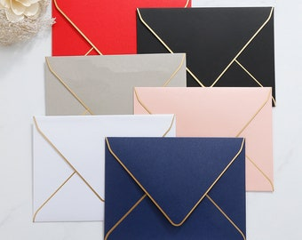 6 colors Gold Foil Bordered Envelope/ envelope for wedding /envelopes for invitation wedding/colorful invitation envelope
