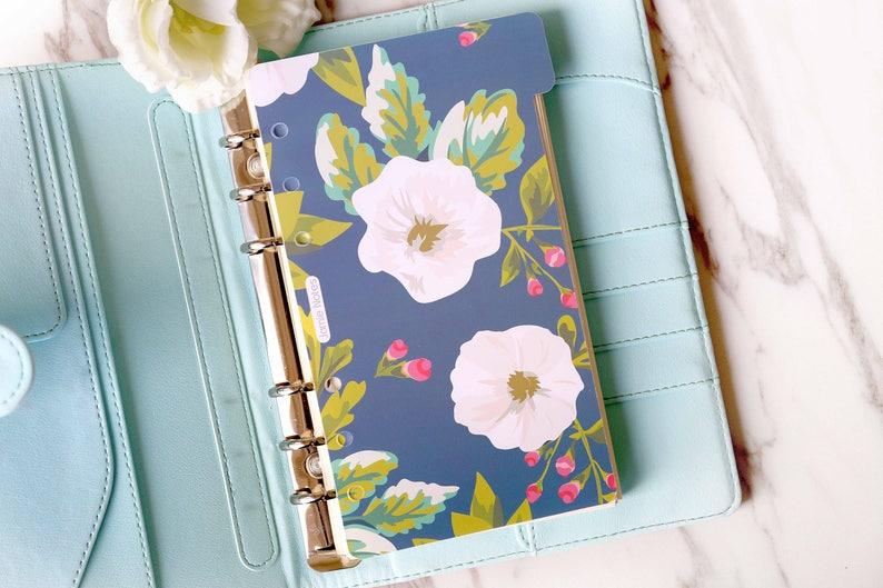 Set of 6 colorful flower Planner DividersRose flower Planner dashboardA5 dividers Personal dividers Planner divider set