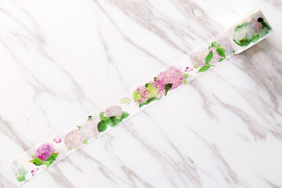 2 Rolls Hydrangea Flowers Washi Tape Decorative Planner Supply Plants Bujo Check