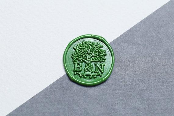 2 initials Monogram Wax Seal Stamp Custom tree Wedding seal stampWax Stamp Kit