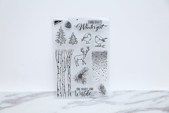 Winter Clear Stamp Forest Deer Rubber Pine Tree