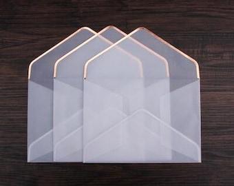 Golden border envelopes /vintage letter Envelopes/transparent envelopes/  party favor,wedding envelopes