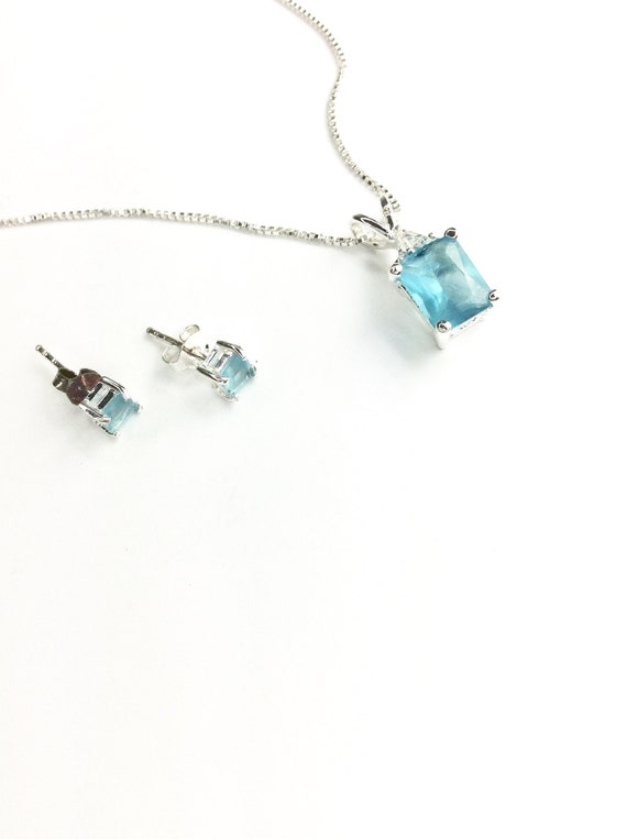 Silver and Blue Gem Necklace and Earrings, Blue Ge