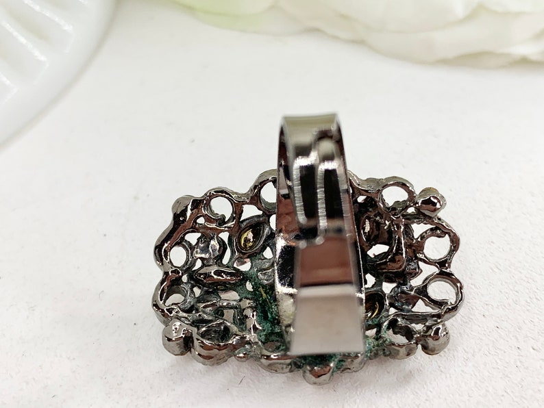 Rhinestone Bead Ring Statement Ring Vintage Ring Unique Vintage Ring Sized 8.75