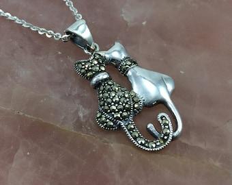 Silver cat necklace etsy sterling silver cat necklace cat couple pendant cat pendant marcasite cat kitty necklace cat lover gift silver cat aloadofball Images