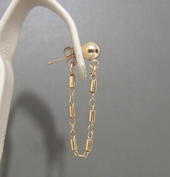 Gold Chain Stud earrings, Gold Filled Stud earrings, dainty earrings,  Simple Earrings, minimalist jewelry, Gold Tube link earrings