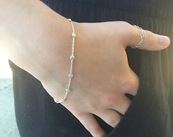 Silver Bead Bracelet, Dainty  Bracelet, Sterling Silver Disc Bracelet, Stacking bracelet, layering bracelet, silver disc bracelet, dew drop