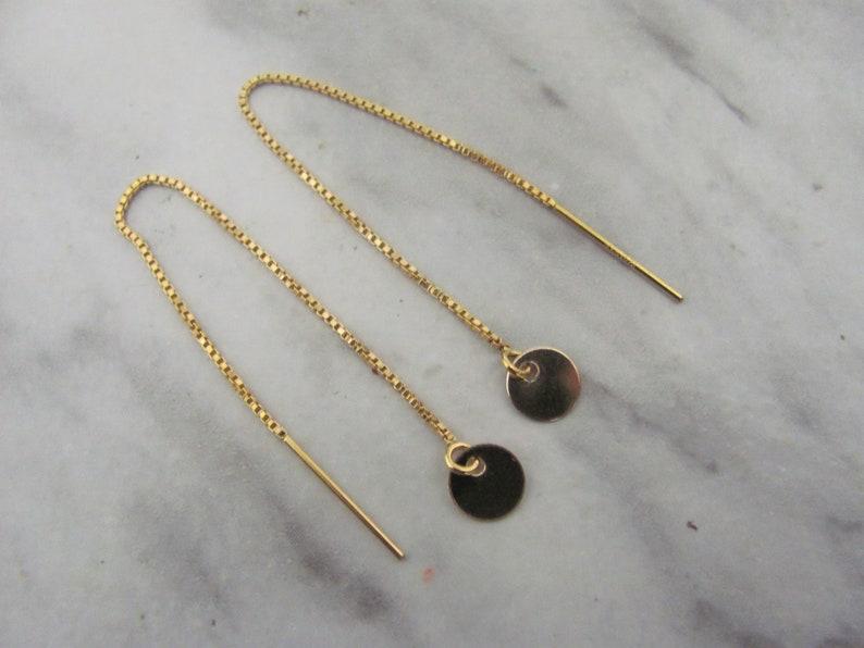 jewelery for her Gold Disc Threader earrings 14K Gold Filled Earrings Tiny Disc  chain Earrings Gold Disc Earrings simple earrings