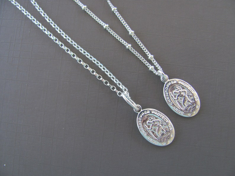 3097f46a8e0 St Christopher Necklace Sterling silver Coin Necklace   Etsy