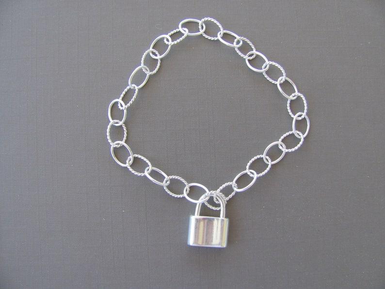 Silver Chain Bracelet Sterling Silver Padlock Chain Bracelet Charm Bracelet Sterling silver bracelet Gift for her Padlock Bracelet