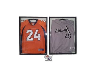 2bbb59fcab8 Lot of 2 Jersey Display Case Frame With Hangers Standard Size White Backing  Wall Mount Football Baseball Basketball Hockey GameDay Display