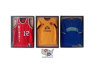 8d9945432fb Lot of 3 Jersey Display Case Frame With Hangers Standard Size Natural Wood  Backing Wall Mount Football Baseball Basketball GameDay Display