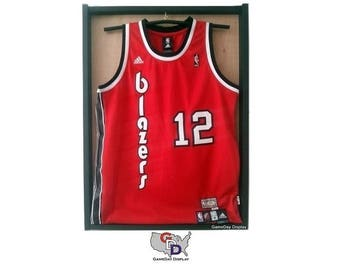 5e9948e3872 Jersey Display Case Frame With Hanger Standard Size Natural Wood Color  Backing Wall Mount Football Basketball Hockey by GameDay Display