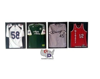 Lot of 4 Jersey Display Case Frame Standard Size Black Backing Wall Mount  Football Baseball Basketball Hockey by GameDay Display 38e094be7