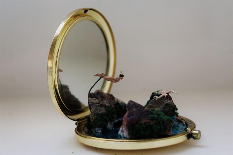 SOLD| Miniature Diorama Fantasy Fairytale Micro World Compact Mirror Tiny  Mermaid: A Siren's Cry