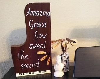 "Baby Grand ""Amazing Grace"" piano art, home decor, musician gift, wall mount, shelf mount"