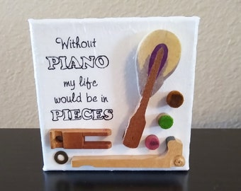 """Piano Action Mixed Media """"Piano Pieces"""" small canvas, excellent gift for teacher student accompanist pianist musician"""