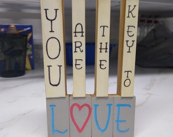 """HOME ~ Ivory Piano Key """"Love Letters"""" shelf decor, mantle decor, musician gift, hand painted"""