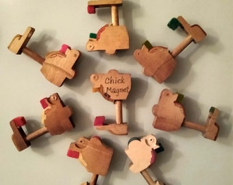 Set of 8 Chick Magnets, Piano Hammer Butt, Refrigerator Fridge Locker Decor, from Grand and Upright Pianos, Upcycled, Recycled