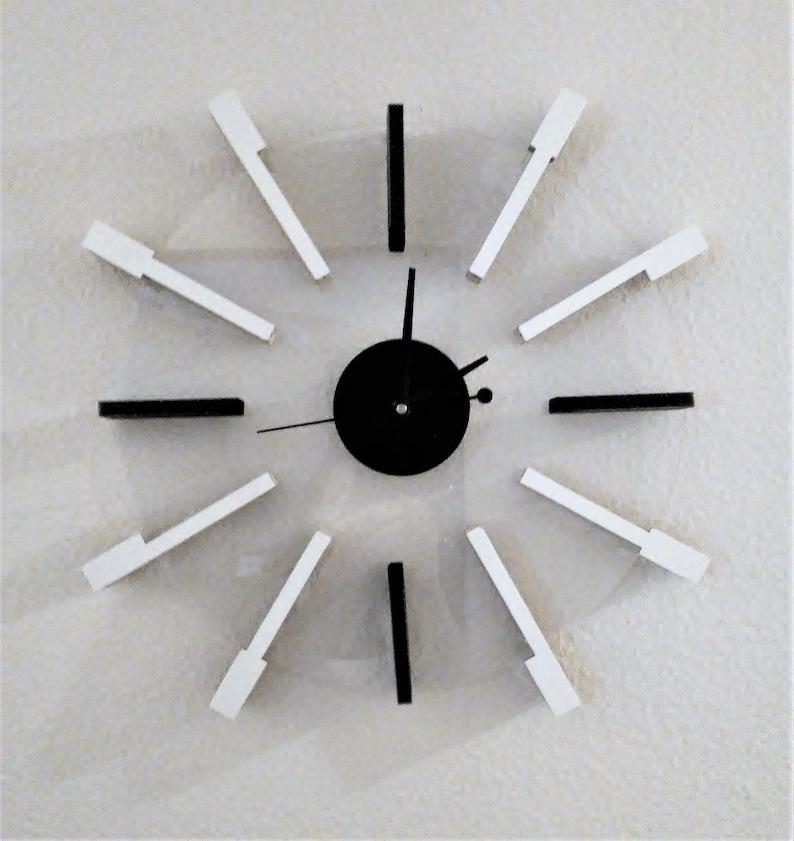 Handmade Piano Key Clock Mounted on Clear Acrylic Symmetrical 2