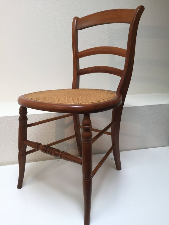 image 0 - Antique Turned Wood Chair With Woven Cane Seat Great Curves Etsy