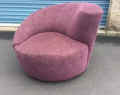 Mid Century Nautilus Swivel Chair by GuildCraft - in the manner of Vladimir Kagan