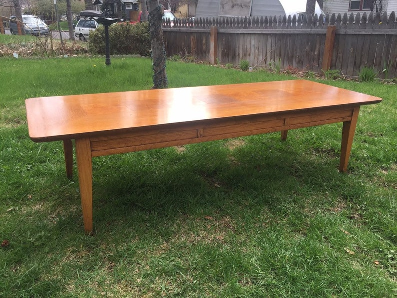 Vintage Mid Century Lane Burl Parquet Coffee Table