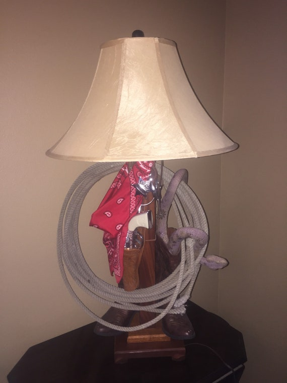 Rustic Western Country Tall Table Lamp Cowboy boots, lasso, bandanna, rattlesnake Unique!