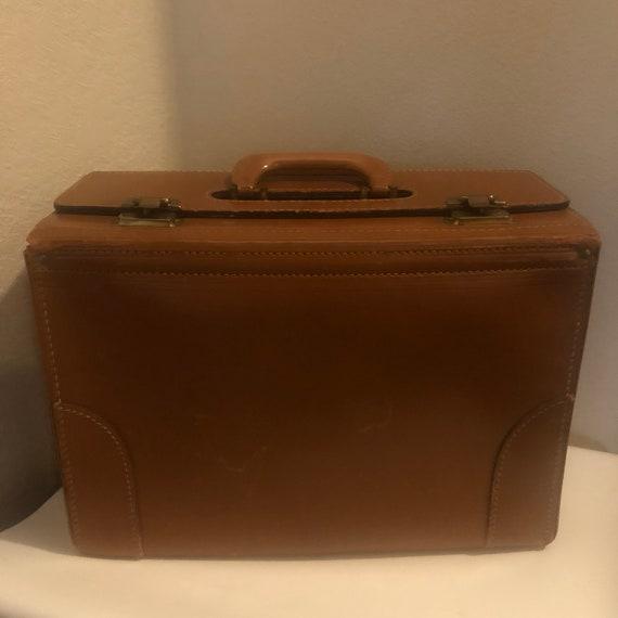Vintage 1940s /50s Brown Leather Salesman Case, Mi