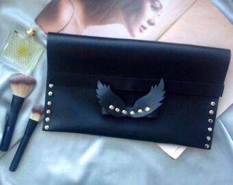Black leather clutch bag Modern clutch bag Evening leather bag Black clutch purse Womens clutch Evening clutch Leather purse Angel wings