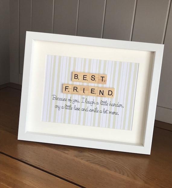 Best Friend Scrabble Frame Friend Gift Ideas Best Friend Etsy