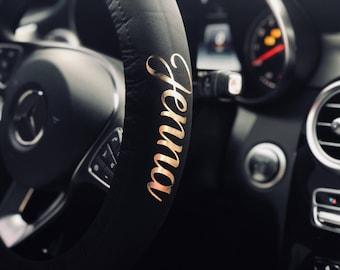 Custom Monogram Steering Wheel Cover - Custom Name - Personalized Steering Wheel Wrap - Cute New Car Accessory - Car Gift - New Car