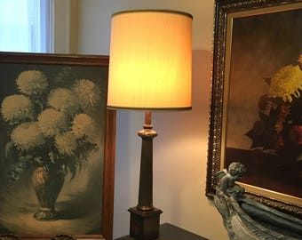 Vintage Frederick Cooper Urn Style Table Lamp, Brass, Wood & Faux Marble, Inlaid Flourish