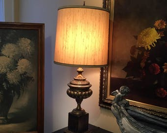 Vintage Frederick Cooper Urn Style Table Lamp, Brass and Wood